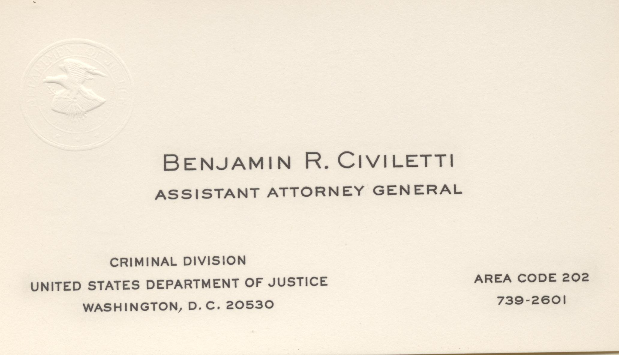 Business Card - Assistant Attorney General of the United States\