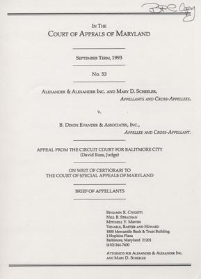 Alexander & Alexander, Inc. and Mary D. Scheeler v. B. Dixon Evander & Associations, Inc. - Brief of Appellants