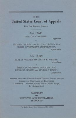 Milton J. Baumel v. Leonard Rosen, Julius J. Rosen, and Rosen Investiment Corporation - Pamphlet