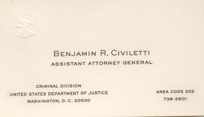Business Card - Assistant Attorney General of the United States