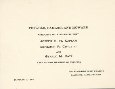 Business card - Venable, Baetjer and Howard, 1969