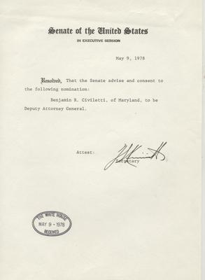 Senate of the United States - Letter Approving Civiletti's appointment