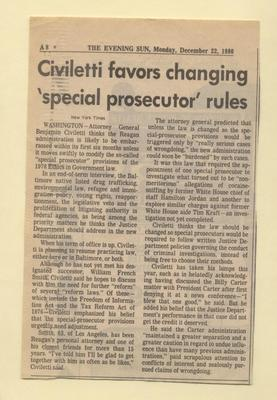 Civiletti favors changing 'special prosecutor' rules