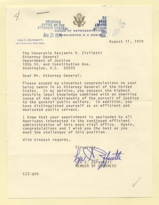 Letter of congratulations - Congressman Zeferetti