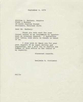 Thank you letter from Civiletti to William L. Marbury, 1979