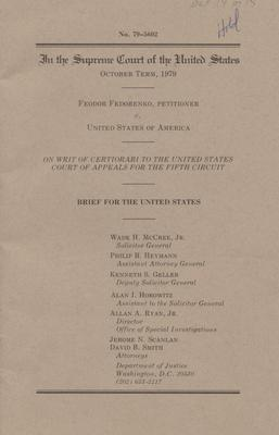 Brief for the United States, Fedorenko v. United States (cover)