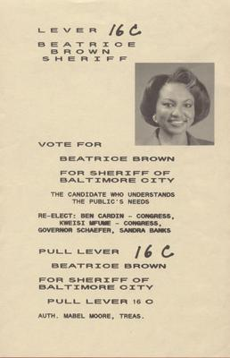 Beatrice Brown for Sheriff of Baltimore City