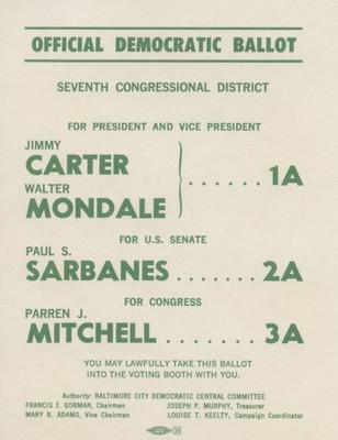 Official Democratic Ballot, 1976