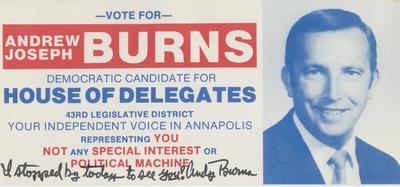 Andrew Joseph Burns Democratic Candidate for House of Delegates
