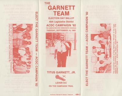 The Garnett Team - Election Day Ballot