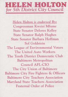 The Helen Holton 5th District Team