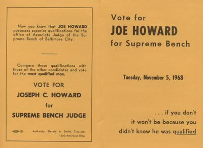 Vote for Joe Howard for Supreme Bench