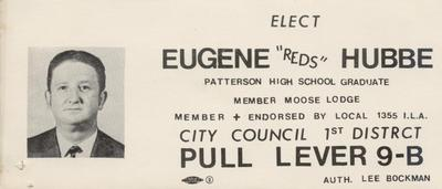 "Elect Eugene ""Reds"" Hubbe"