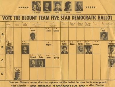 Vote the Blount Team Five Star Democratic Ballot