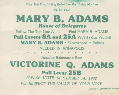 Vote for Mary B. Adams, House of Delegates