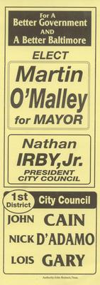 Elect Martin O'Malley for Mayor