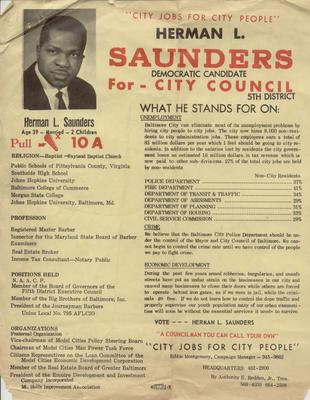 Herman L. Saunders for City Council, 5th District