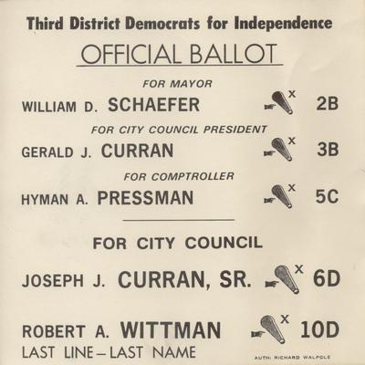 Third District Democrats for Independence - Official Ballot