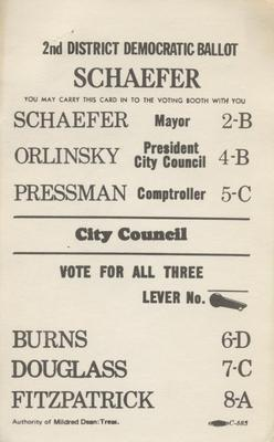 The 2nd District Democratic Ballot - Schaefer