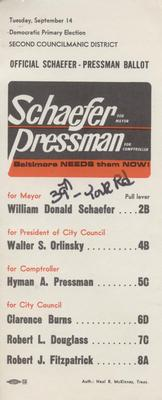Official Schaefer - Pressman Ballot
