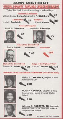40th District - Official Conaway - Rawlings - Judge Smith Ballot