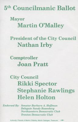 5th Councilmanic Ballot