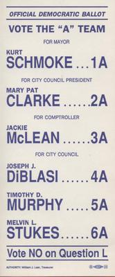 "Official Democratic Ballot - Vote the ""A"" Team"