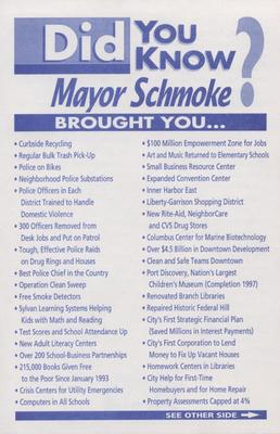 Did You Know Mayor Schmoke Brought You...