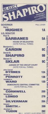 Re-Elect Delegate David B. Shapiro
