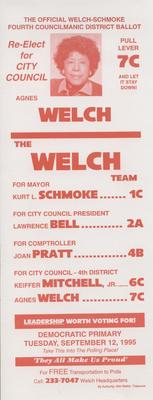 The Official Welch-Schmoke Fourth Councilmanic District Ballot