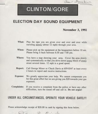 Clinton - Gore Election Day Sound Equipment