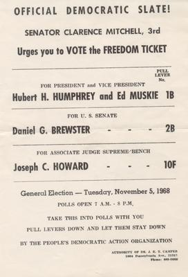 Official Democratic Slate – Senator Clarence Mitchell, 3rd – Urges you to Vote the Freedom Ticket