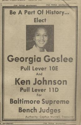 Be A Part Of History...Elect Georgia Goslee and Ken Johnson