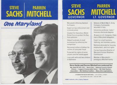 Steve Sachs - Parren Mitchell - One Maryland