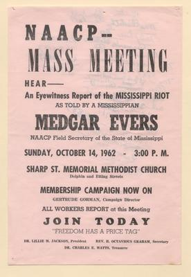 "University Of Baltimore Law >> ""NAACP - Mass Meeting: Medgar Evers"""